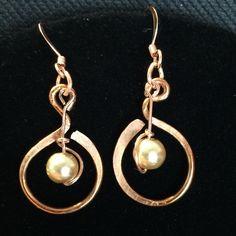 Pearl & Copper Earrings Pearl & Copper Earrings.These are handmade by myself and my husband. Handmade Jewelry Earrings