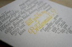 Letterpressed Will You Be My Bridesmaid Cards by drippyink on Etsy, $5.50