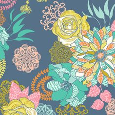 Love, love, love this fabric!  Josephine Kimberling - Hope Chest - Hope Chest Floral in Blue
