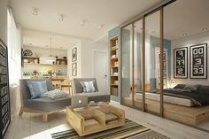 cloison en verre, petit appartement bien amménagé