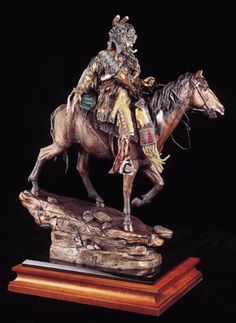 Down From High Lonesome-Mountain Man on Horse Sculpture by David Lemon available at AllSculptures.com