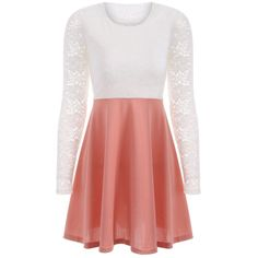Lace Insert Long Sleeve Dress