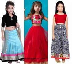 Wedding fashion for kids – A Guide Golden Lehnga, Western Dresses, Half Saree, Wedding Styles, Sarees, High Waisted Skirt, Kids Fashion, That Look, Skirts