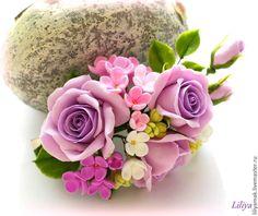 """Купить Зажим для волос """"Сиреневый вальс цветов"""" - бледно-сиреневый, розы ручной работы"""