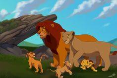 Simba and Nala with their cubs, Kopa, Kiara, and Kion.