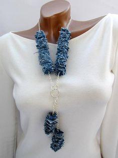 Denim necklace Braided Denim jewelry Scarf necklace Jeans necklace Big bold chunky necklace fabric n Scarf Necklace, Fabric Necklace, Scarf Jewelry, Textile Jewelry, Fabric Jewelry, Diy Necklace, Leather Jewelry, Hair Jewelry, Beaded Jewelry