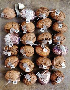 walnut advent calendar - cute idea for the holidays.