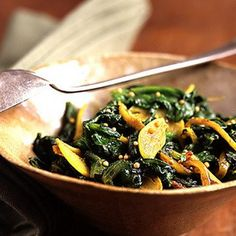 Spinach Sauteed With Indian Spices Recipe Side Dishes with unsalted butter, shallots, garlic, ginger, ground cumin, ground turmeric, fresh spinach, yellow mustard seeds, freshly ground pepper, salt