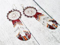 Red Dream Catcher Beaded Earrings | Beaded Boho Earrings | Tribal Earrings Dream Catcher Jewelry | Bohemian Earrings | Native American Inspired Beadwork -- Primitive Riches