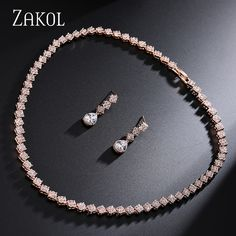 ZAKOL Personalized Rose Gold Plated Drop Jewelry Rectangle Cubic Zirconia Jewelry Set For Women Party FSSP015
