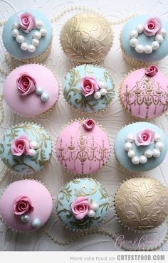 I found more lovely cupcakes for your reception - or shower.