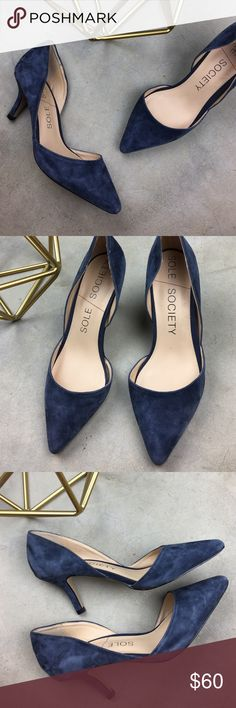 Sole Society navy blue suede pointed toe heels Only worn a few time. Smallest imperfection on the back of one heel shown in the last photo. Please note these are a size 7.5. I am usually a 7.5 in heels and these are a little tight on me so I would say they fit like a 7. Super adorable! So sad they didn't fit. Sole Society Shoes Heels