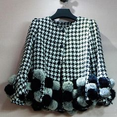 Fashionable Round Neck Houndstooth Pompon Long Sleeve Women s Coat ($27) ❤ liked on Polyvore featuring outerwear, coats, as the picture, blue coat, hounds tooth coat, long sleeve coat and houndstooth coat