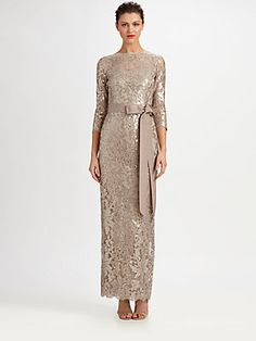 Wish I had somewhere to wear this! Tadashi Shoji Sequined Lace Gown