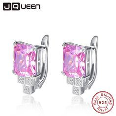 Fair price JQUEEN Genuine Big Gem Stud Earrings for Women Solid 925 Sterling Silver 19.6 ct Natural Pink Topaz Emerald Cut With Jewelry Box just only $17.81 with free shipping worldwide  #finejewelry Plese click on picture to see our special price for you