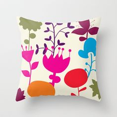 colorful flowers Throw Pillow by aticnomar - $20.00 Colorful Flowers, Throw Pillows, Toss Pillows, Cushions, Decorative Pillows, Decor Pillows, Scatter Cushions