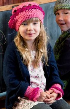 Little Girl's Beret and Wristers by Kim Guzman