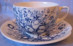 Decorative Dishes - Blue Toile Transferware Tulip Vintage Cup and Saucer, $9.99 (http://www.decorativedishes.net/blue-toile-transferware-tulip-vintage-cup-and-saucer/)