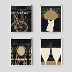 Illustration, Paris Print Collection, 8x10 Black and Gold Paris Art Prints, Wall Art, Notre Dame, Eiffel Tower