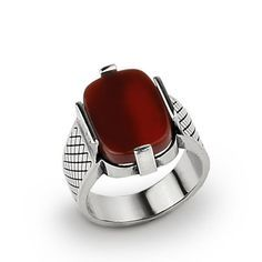 925 K Sterling Silver Men's Ring with Natural Red Agate Gemstone $49.00