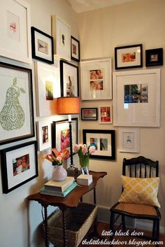 Love this little space! Gallery wall is perfect! My Crafty Home Life: The Little Black Door is Here!...Guest Post