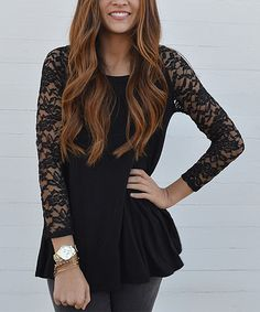 Loving this Black Lace-Sleeve Tunic on #zulily! #zulilyfinds