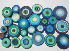 Modern+circles+wall+hanging+Blue+green+wall+by+georgianacristea,+$40.00