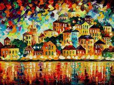 """Griechischen Hafen bei Nacht – Spachtel Panorama Stadtbild Ölgemälde auf Leinwand von Leonid Afremov. Größe: 30 """"X 24"""" Zoll (75 x 60 cm)"""