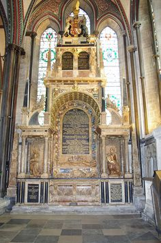 The Tomb of Lady Catherine Grey (1540 - 1568) and Edward Seymour, Earl of Hertford (1539-1621) Salisbury Cathedral. The younger sister of Lady Jane Grey, Catherine was a granddaughter of Henry VIII's sister Mary, and a potential successor to her cousin, Queen Elizabeth I of England, but incurred Elizabeth's wrath by her secret marriage to Edward Seymour, 1st Earl of Hertford.