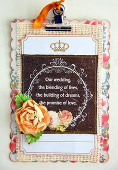 Scrapperlicious: Our Wedding Acrylic Clipboard by Irene Tan using Clear Scraps acrylic clipboard