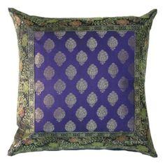 "16"" Purple Silk Brocade Throw Pillow Sham For Sofa & Bed"