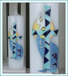 Taufkerze DW 511 modern Kirchenfenster-Stil von  Kerzenkunst -  Kreatiwita auf DaWanda.com