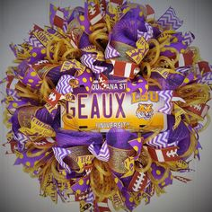 LSU Tigers Football Wreath by StudioWhimsybyBabs on Etsy