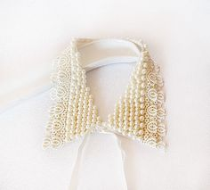 Pearl Embroidery  Collar Necklace, Peter Pan collar Necklace, Col Claudine, Lace collar, Women's  Trendy
