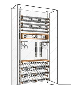 Client had 48'' wide available which perfectly allows to incorporate our 3 bottle wide structure of 41''. They even tweaked it a little with the glasses. Glass Wine Cellar, Home Wine Cellars, Wine Cellar Design, Wine Cellar Modern, Wine Rack Wall, Wine Wall, Modern Home Bar, Modern Kitchen Design, Under Stairs Wine Cellar