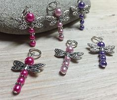 6 Snag Free Dragonfly Stitch Markers -Knitting Tools- Gifts For Knitters