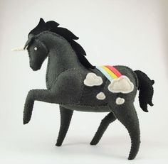 Black Rainbow Unicorn with Clouds Stuffed Decoration - Felt Stuffed Animal, Soft Sculpture, Cute Pony Plush Felt Animal Patterns, Stuffed Animal Patterns, Plush Animals, Felt Animals, Stuffed Animals, Felt Crafts, Kids Crafts, Cute Ponies, Needle Felting Tutorials