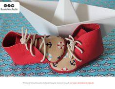 Süße Babyschuhe von Bianca, genäht nach einem Schnittmuster aus meinem Buch http://www.kreativlaborberlin.de/mein-buch-babyschuehchen-naehen/