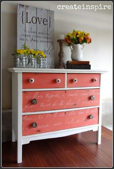 Pink Painted Dresser by {Create Inspire Me} #VintageStorehouseStyle #PinkPaintedDresser