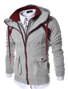 (LCJ14-GRAY) 2 Tone Double Zipper Hood Jacket Sweater Hoodie cae31dc2387