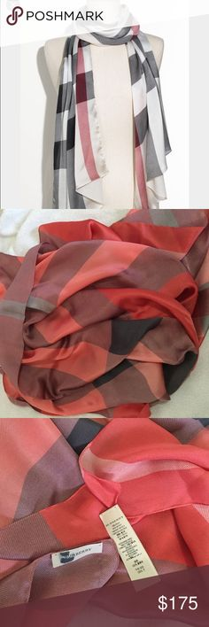 """Burberry Check Print Scarf 100% authentic gently used scarf. Some few runs not noticeable, sharpie mark on the tag to prevent store returns. Care tag, one side came loose.                                                                       Oversized checks pattern an elegant silk scarf. 25"""" x 76"""". 100% silk; dry clean. Made in Italy. Burberry Accessories Scarves & Wraps"""