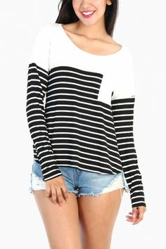 Contrast Striped Long Sleeve Top - White / Black