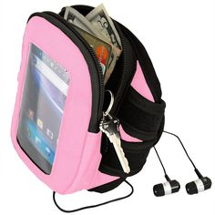 """Champion Wireless Products Touchscreen Armband Case for Devices Upto 5.4 Inches - Retail Packaging - Pink. Fits touchscreen devices up to 5.4"""" tall. Large interior pocket that has four credit card slots, and room for your keys and cash. Rugged Nylon construction is combined with a Large touch Capacitive window for your Device that allows you to text and control Phone Features without having to remove your Device from the armband. Dual zippers allow quick and easy access to your personal..."""