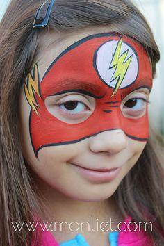 The Flash face paint Superhero Face Painting, Face Painting For Boys, Face Painting Tips, Face Painting Designs, Flash Face Paint, Cool Face Paint, Up Personajes, Kids Makeup, Boy Face