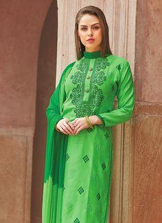 Green Blended Cotton Churidar Suit