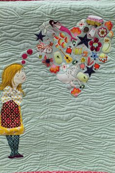 """Dream a Little Dream"", made and quilted by Angela Pingel, South Bend, Indiana, United States.  Quilt Con 2013, photo at We All Sew"