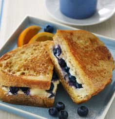 Grilled cream cheese and blue berry sandwiches, great for breakfast!