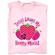 Jesus Loves Me Berry Much Shirt, Pink, Youth Medium..cute shirt great bulletin board theme