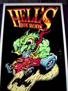 Vintage Hells Hot Rod Black Lite Poster by AncientArt on Etsy