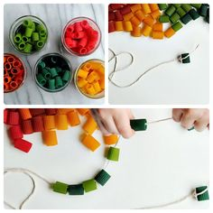 Una divertida manualidad con pasta Crafts To Do, Crafts For Kids, Macaroni Pasta, Fine Motor Skills, Food Coloring, Kids House, More Fun, Activities For Kids, Eyfs